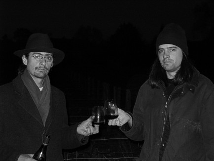 Kilian Fitzpatrick and Nikolai Vogel Undercover in a Vineyard in the Evening